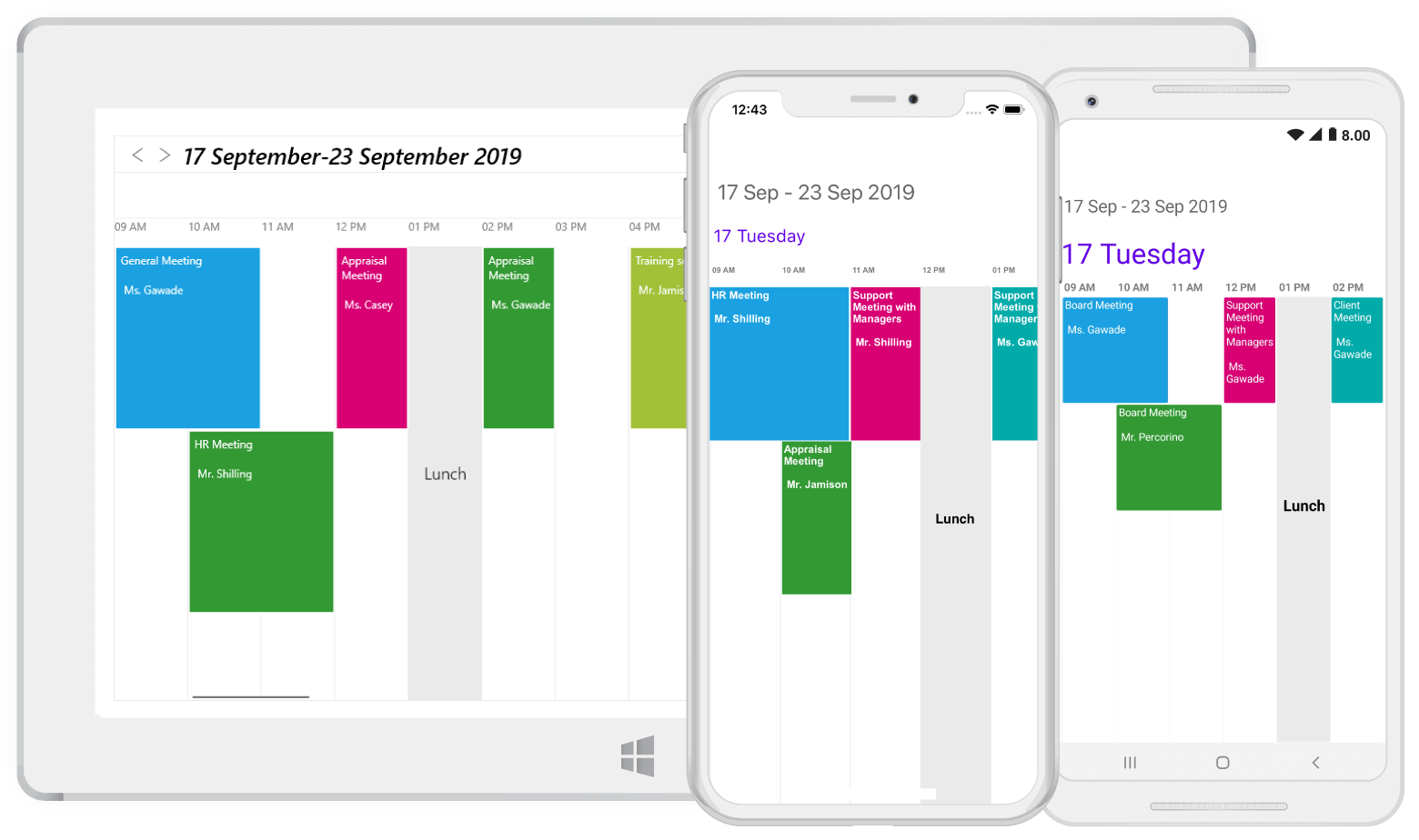 Timeline view in Xamarin.Forms Scheduler