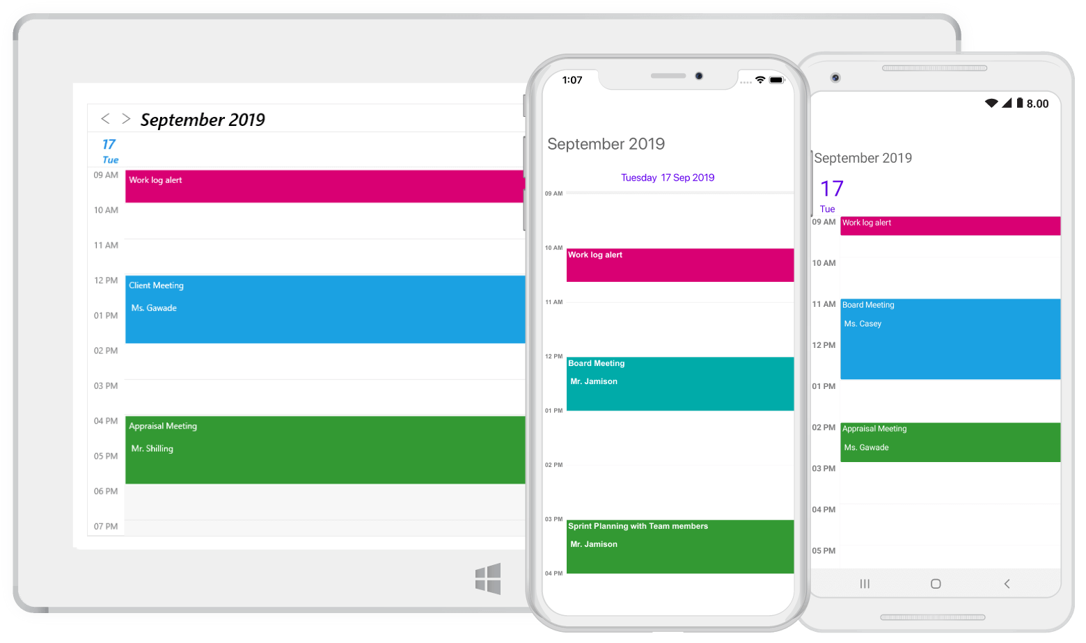 Day view in Xamarin.Forms scheduler