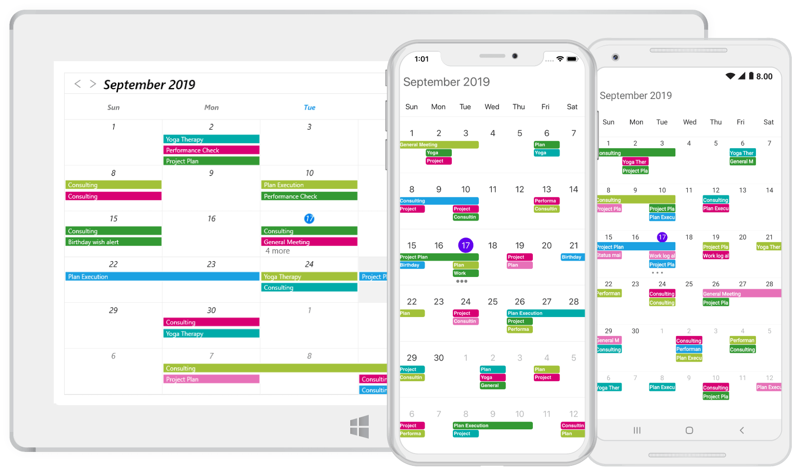 Month view in Xamarin.Forms scheduler