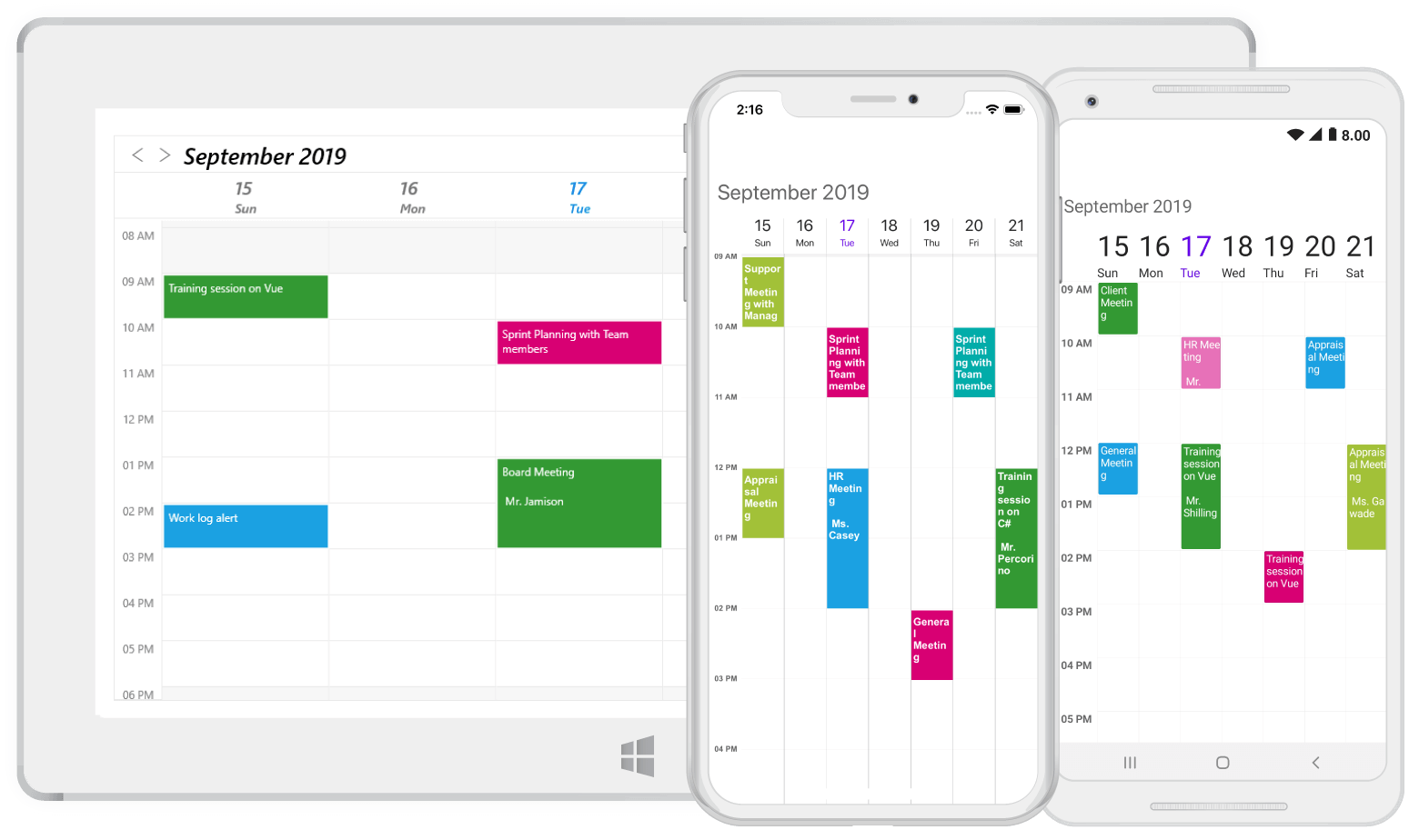 Week view in Xamarin.Forms scheduler
