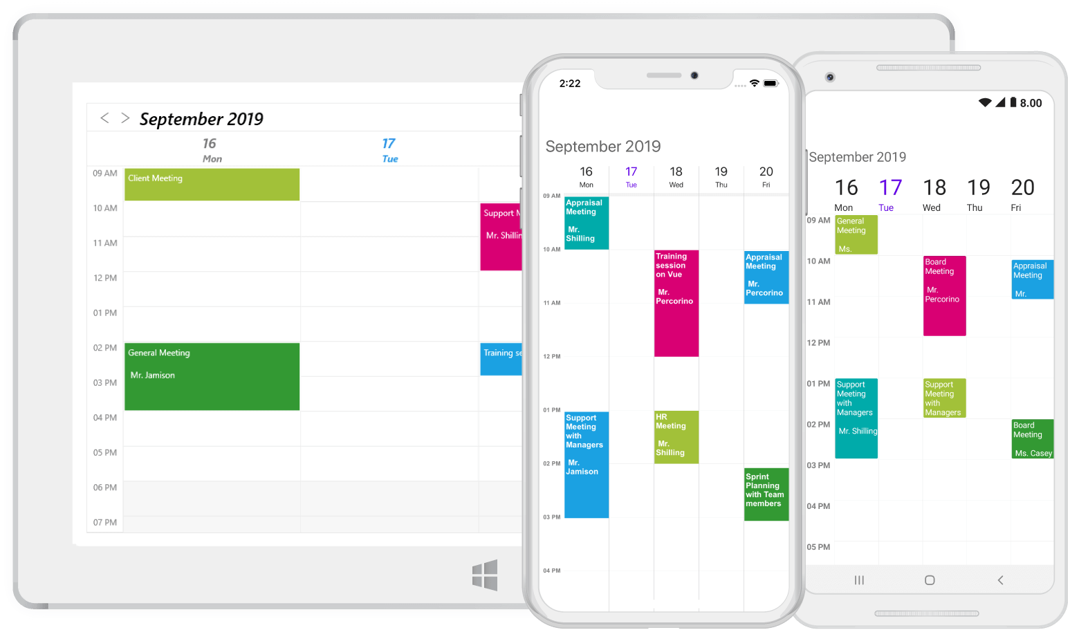 Workweek view in Xamarin.Forms scheduler